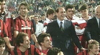Silvio Berlusconi and Milan players